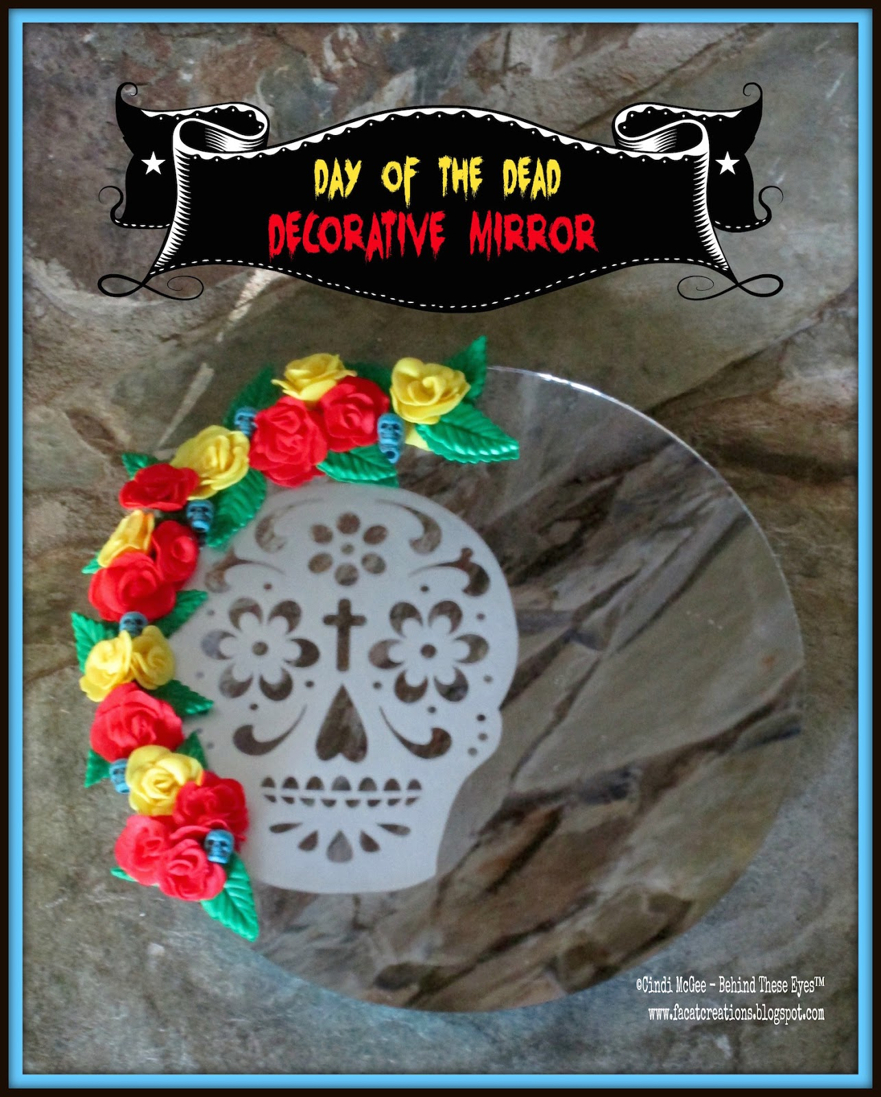 """Day of the Dead Decorative Mirror"" by Cindi Bisson McGee"