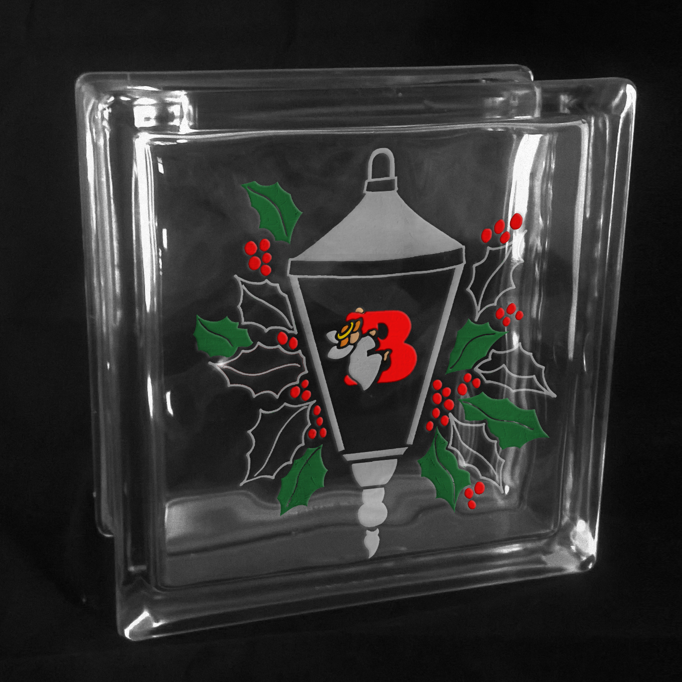 ETCHNET™ Etched Lantern with Angel Monogram