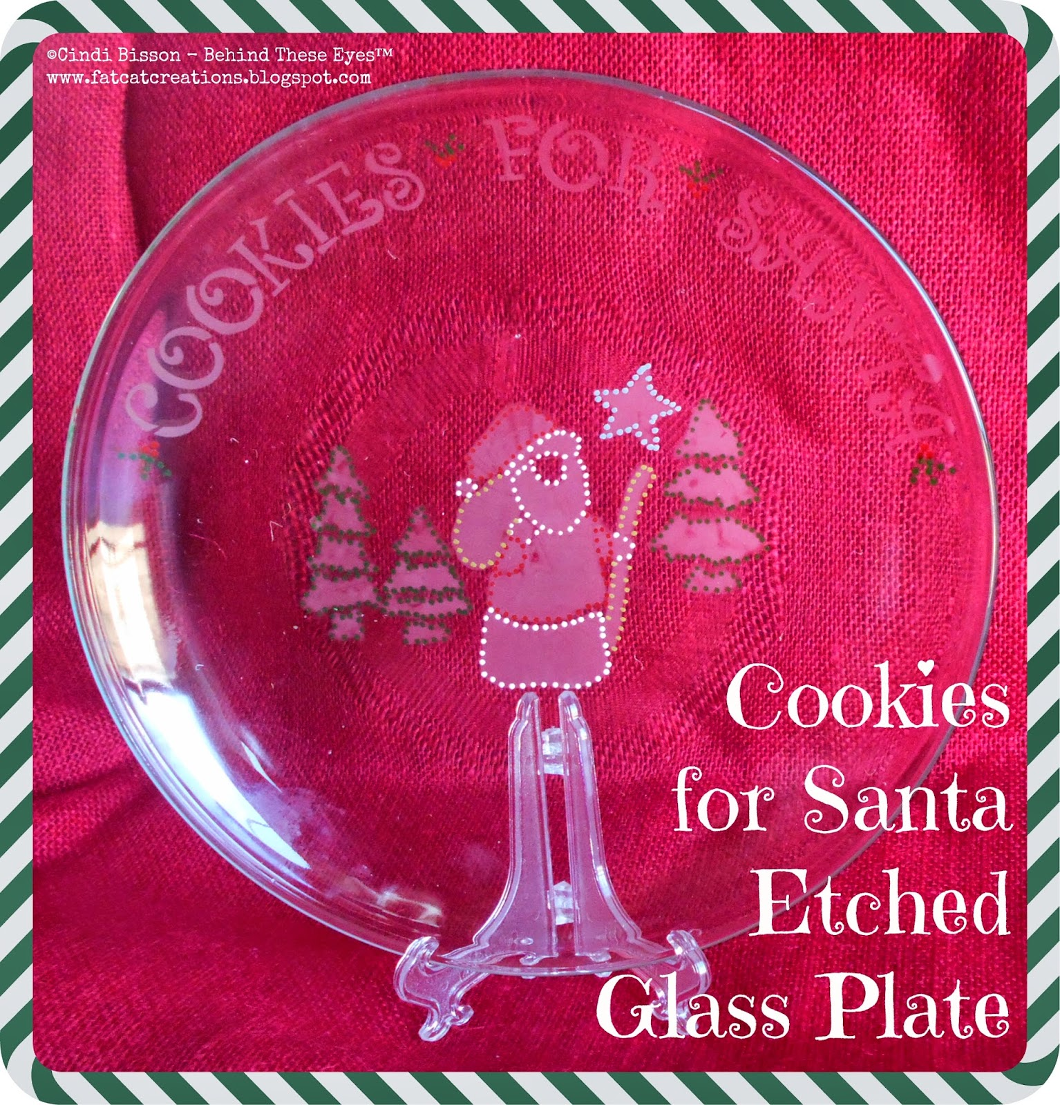 """Cookies for Santa"" Etched Glass Plate by Cindi Bisson McGee"