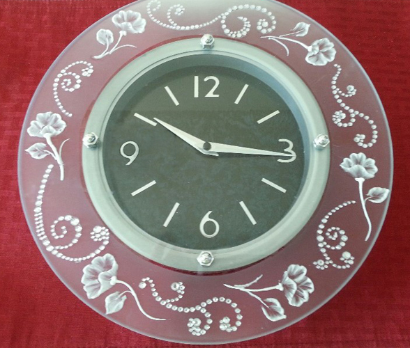 etched glass clock Vicki Alley