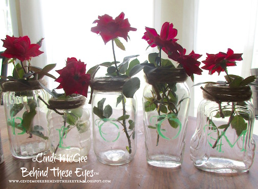 Vintage Etched Mason Jars by Cindi Bisson McGee