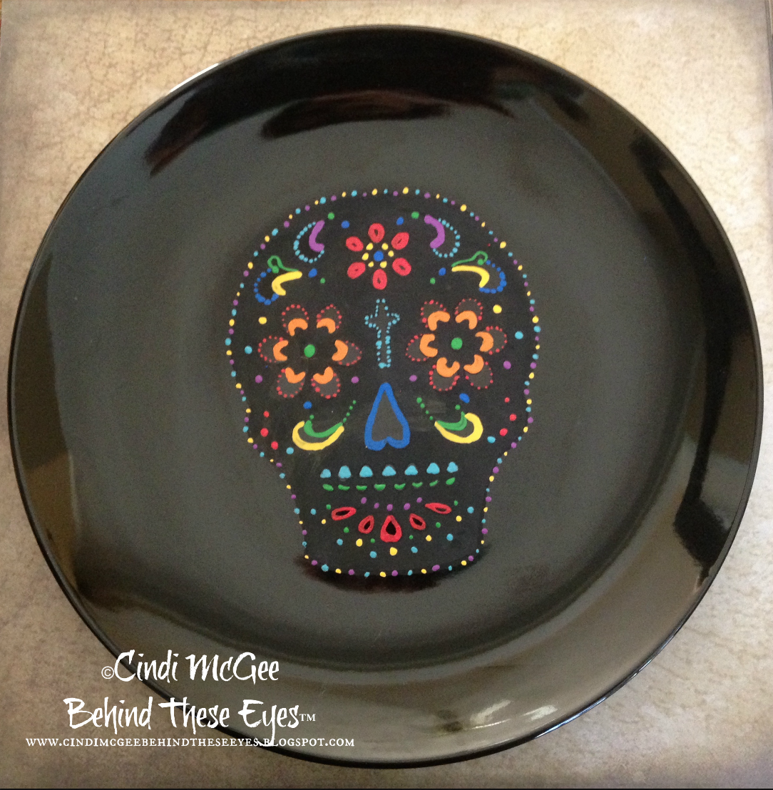 """Day of the Dead Skull Plate"" by Cindi Bisson"