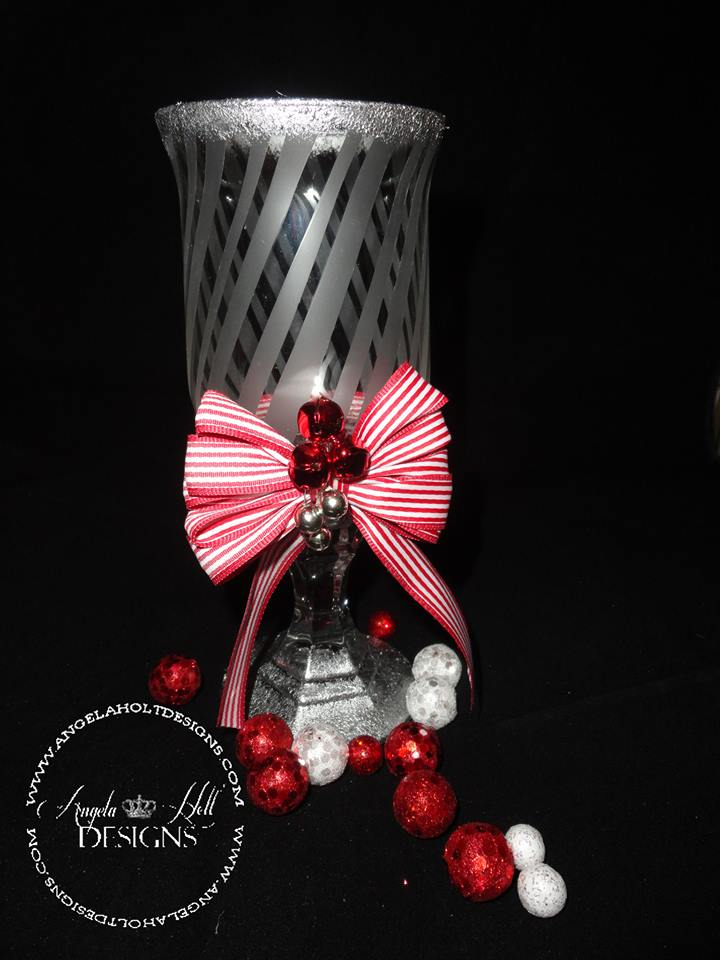 Etched Candy Cane Striped Candle Holder - Angela Holt