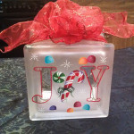 holly joy xmas candy cane glass block