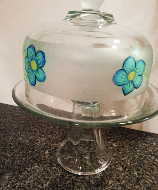 Blue Flower Cake Dome by Vicki Alley