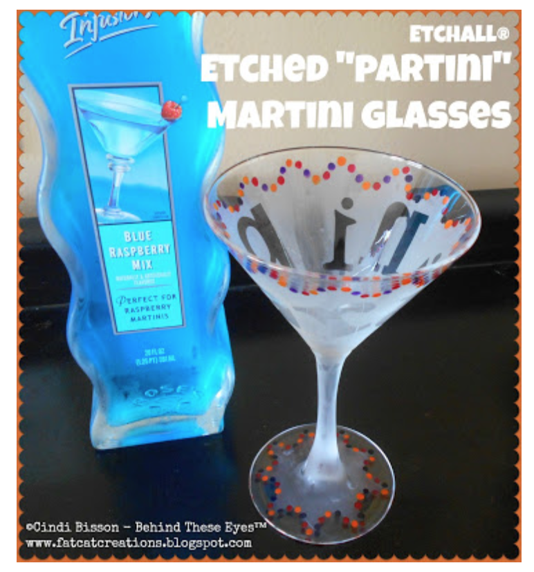 """PARTINI"" Etched Martini Glass"