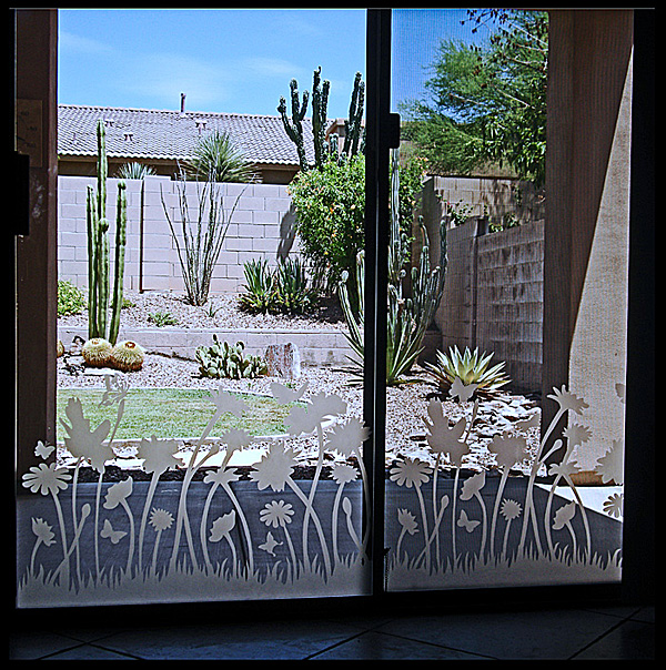 Etched Flowers Patio Door