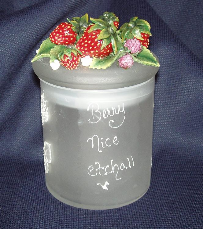 Dipped Jar with Dimensional Strawberries