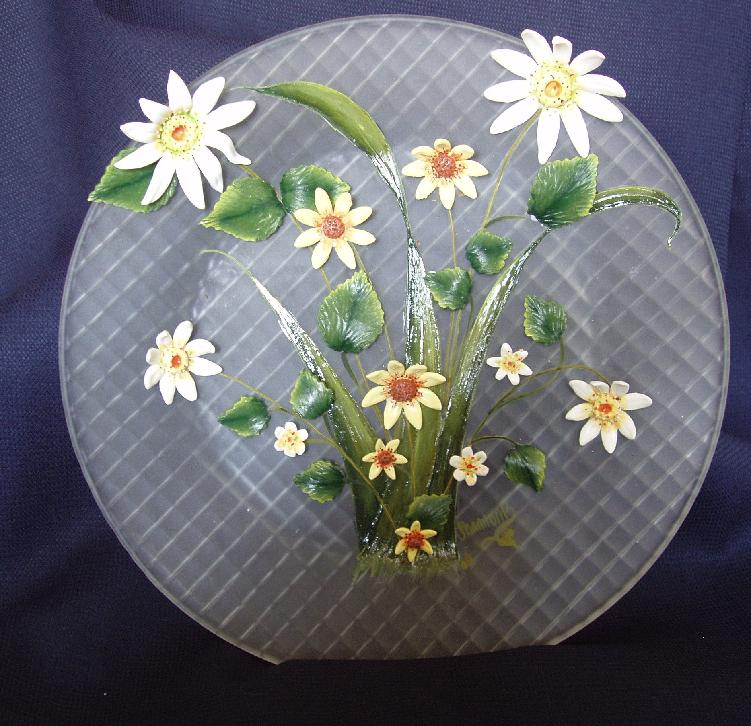 Etched Plate with Dimensional Daisies