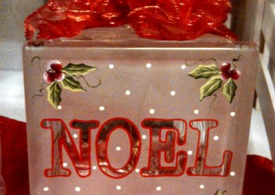 Noel Etched & Painted Glass Block