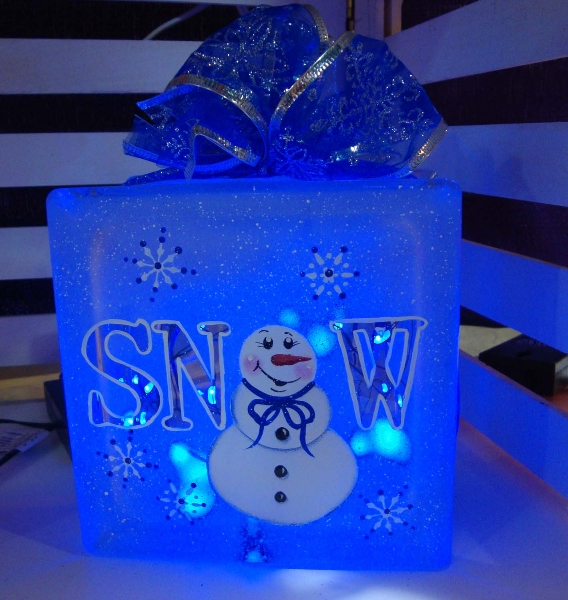 Snowman Etched Glass Block