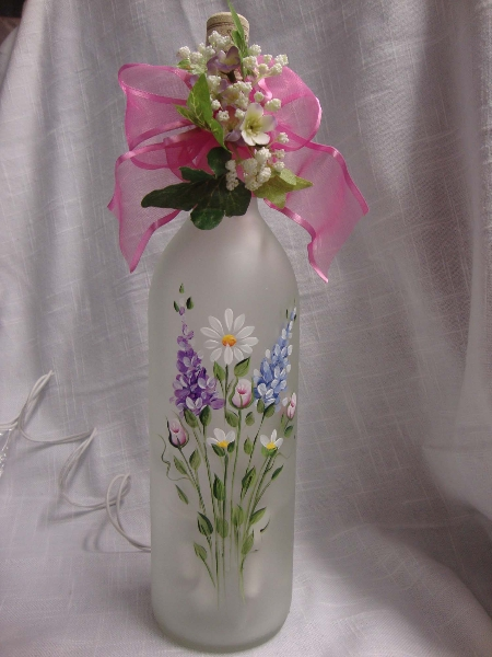 Spring Flowers Etched Wine Bottle