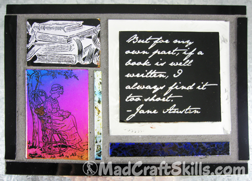 Jane Austen Dichroic Glass