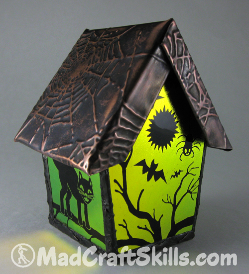 Dichroic Glass Haunted Birdhouse
