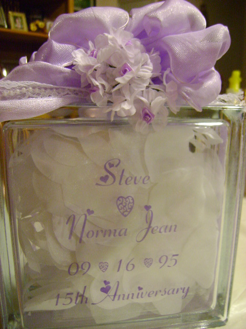 15th Anniversary Glass Block Back
