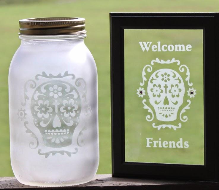 Etched Sugar Skull Mason Jar & Frame
