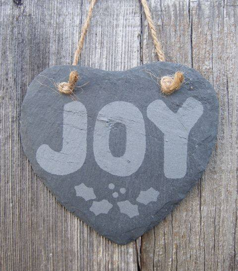 Etched Slate Heart Ornament