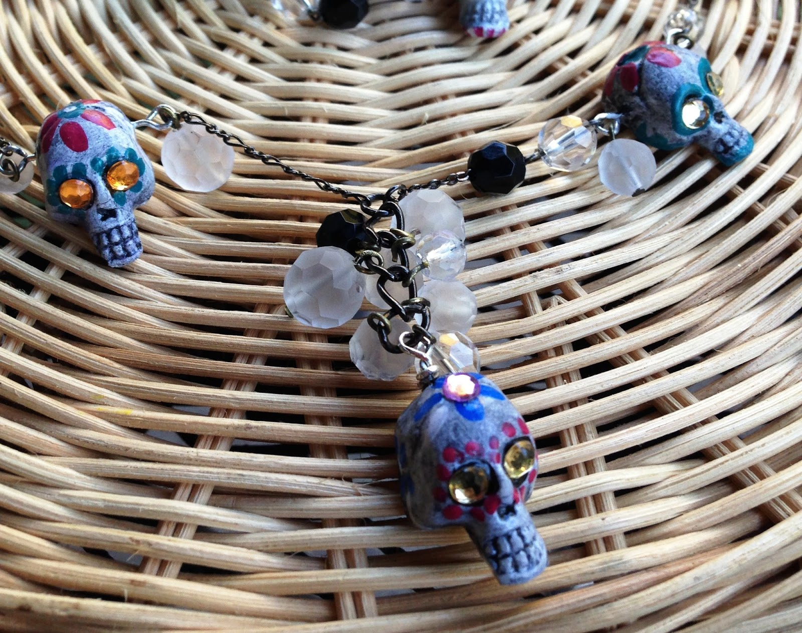 Day of the Dead Etched Beads