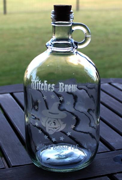 Etched Glass Halloween Jug