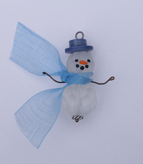 Etched Beaded Snowman Blue