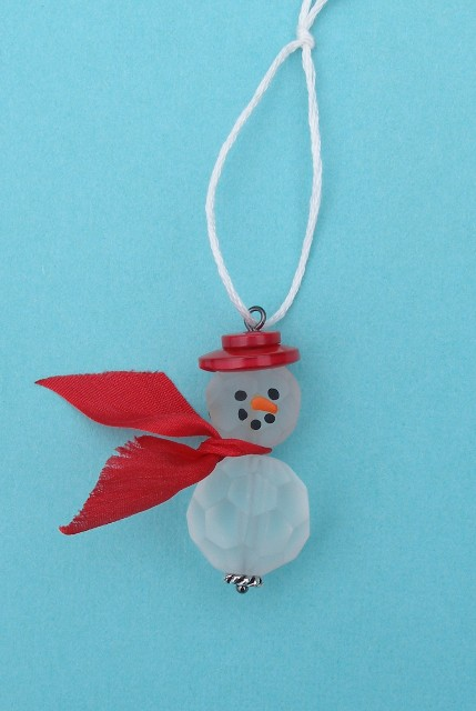 Etched Beaded Snowman Red