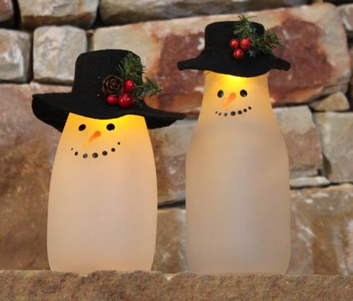Etched Milk Bottle Snowmen