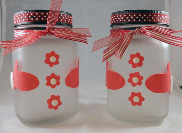 Etched Snowman Jars