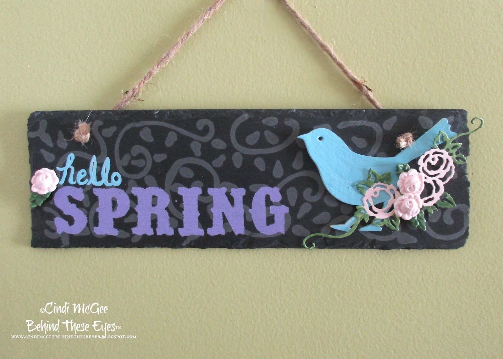WCK Hello Spring Etched Decorative Slate
