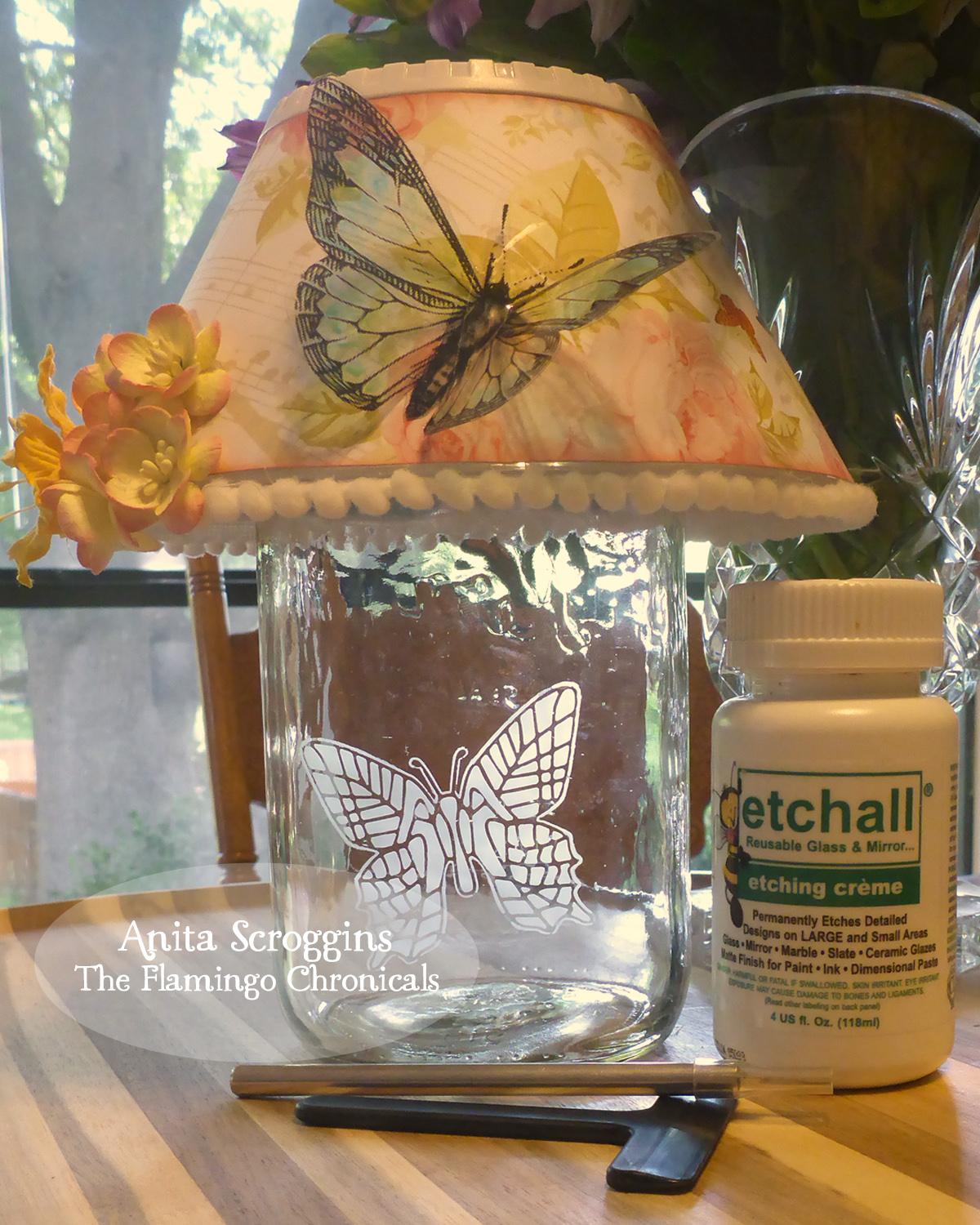 Butterfly Mason Jar Lamp with Decorated Shade