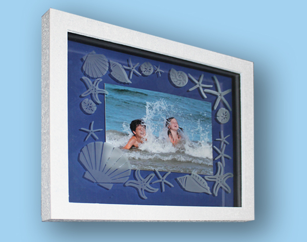 Etched Glass Seashell Frame