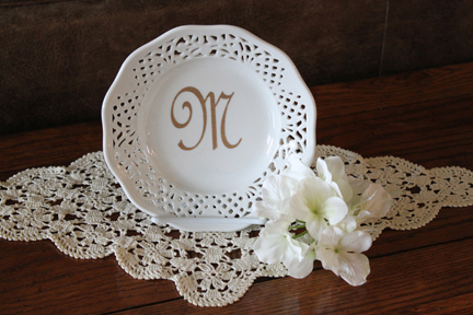Monogrammed China Plate for Mom