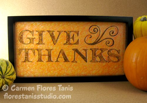 Give Thanks Glass Panel