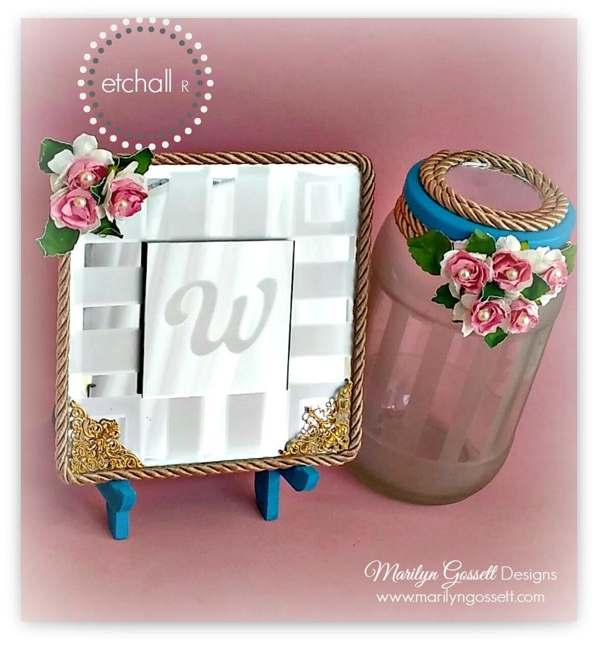 Monogrammed Mirror & Shabby Chic Mason Jar