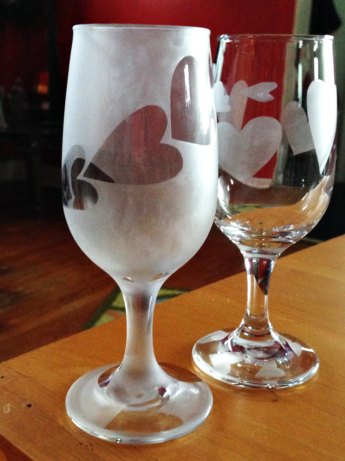 Etched Valentine Glasses