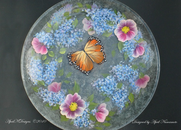 Lilacs in Bloom Painted Plate