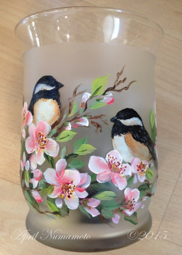 Chickadees & Blossoms Painted Candle Holder