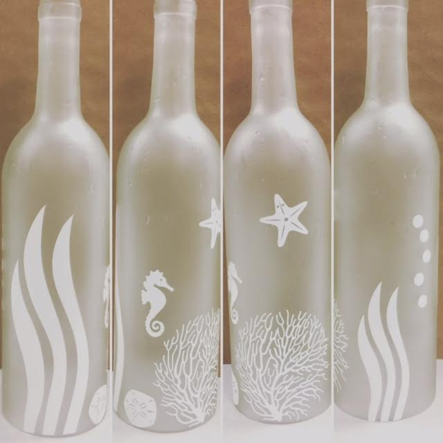 Etched Faux Sea Glass Bottles