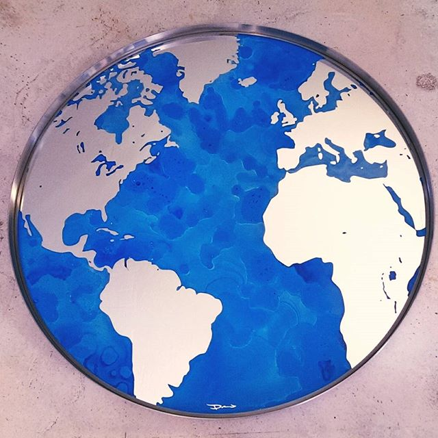 Etched Globe Mirror Artpiece 3