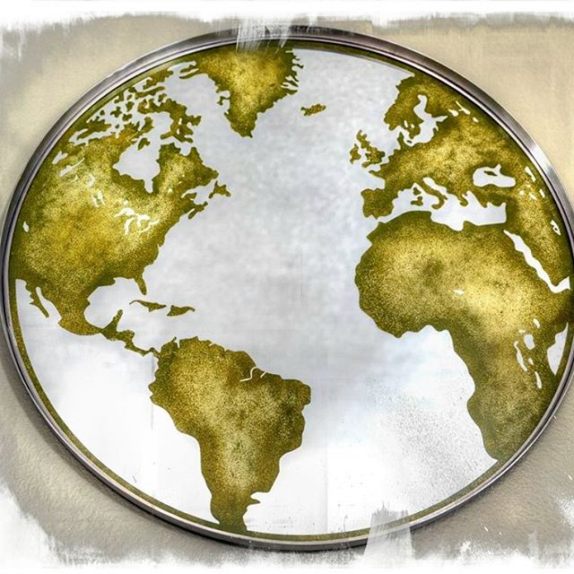 Etched Globe Mirror Artpiece