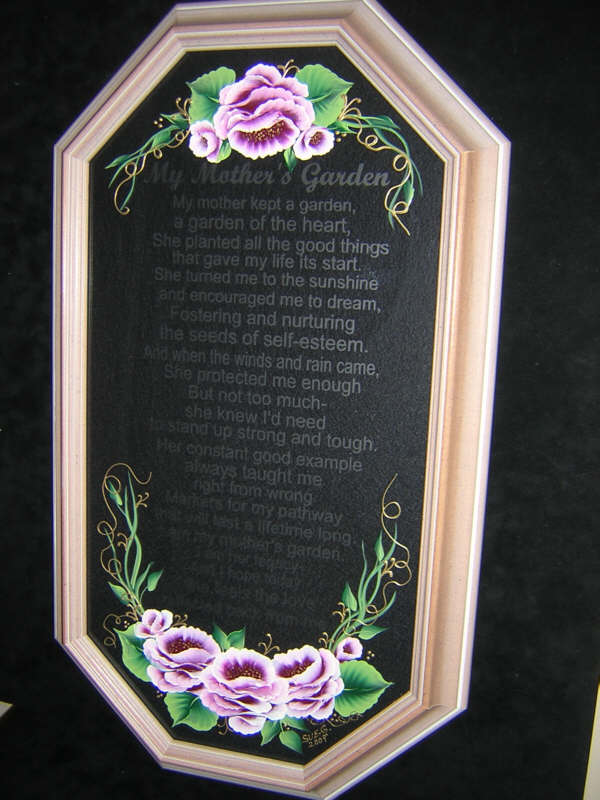 My Mother's Garden Etched Poem