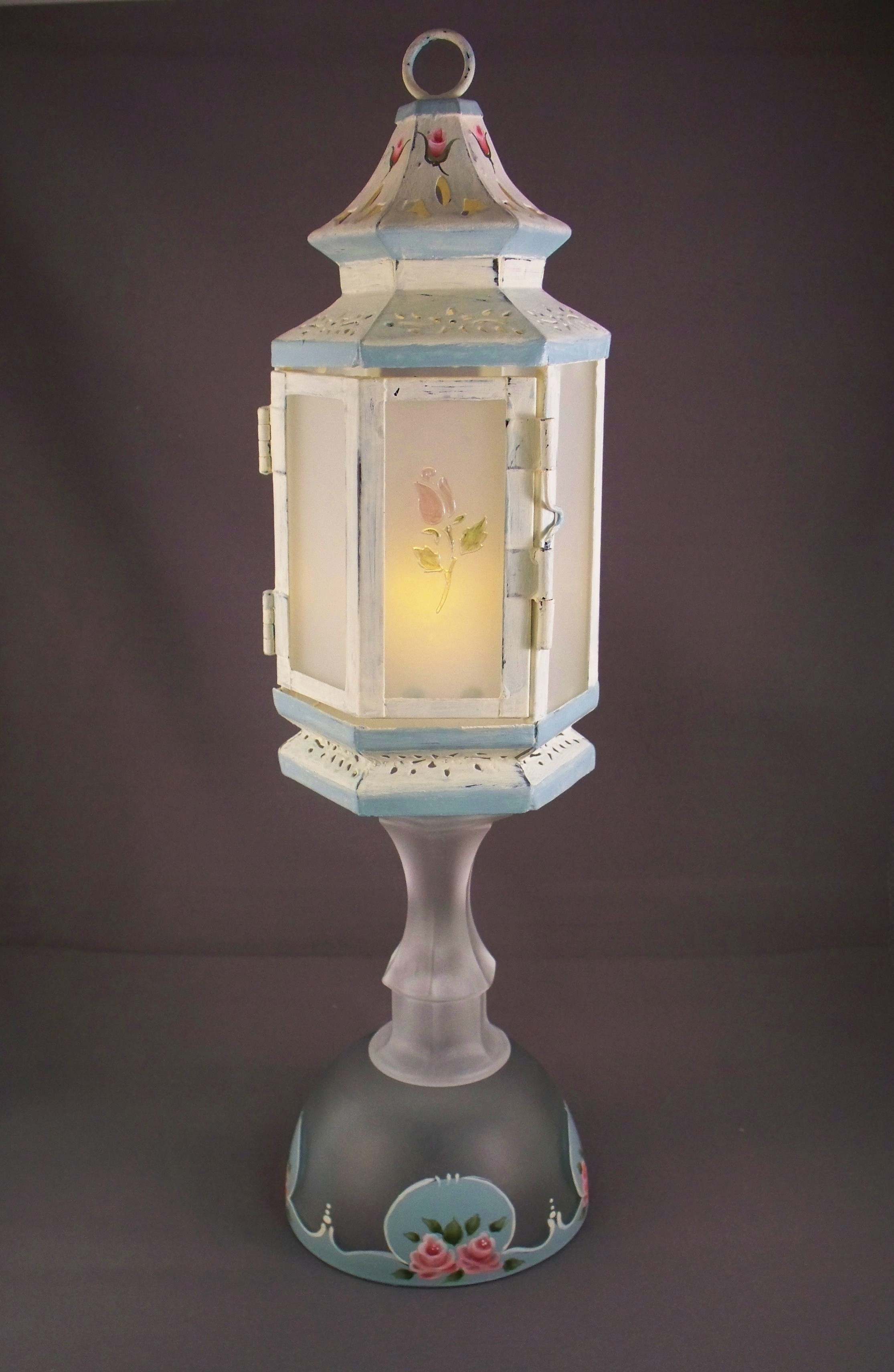 Etched Shabby Chic Lantern – Roses