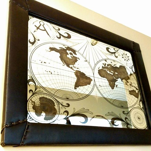 Large Etched Map Mirror Artpiece