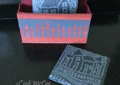 Etched Slate House Coaster