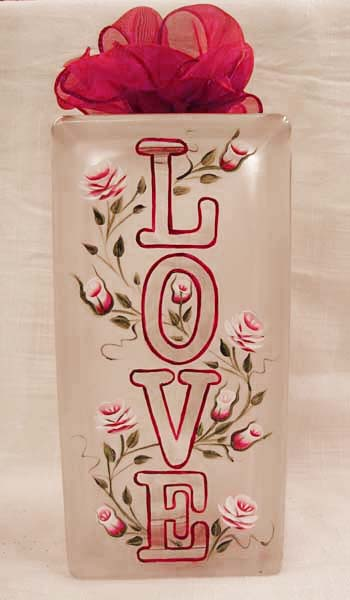 Valentine Etched & Painted Glass Block