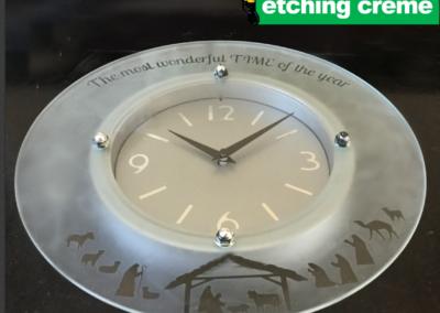 Nativity Etched Glass Clock