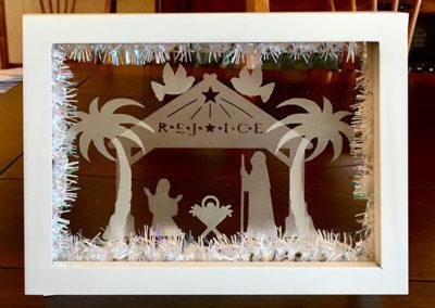 Etched Float Frame Nativity