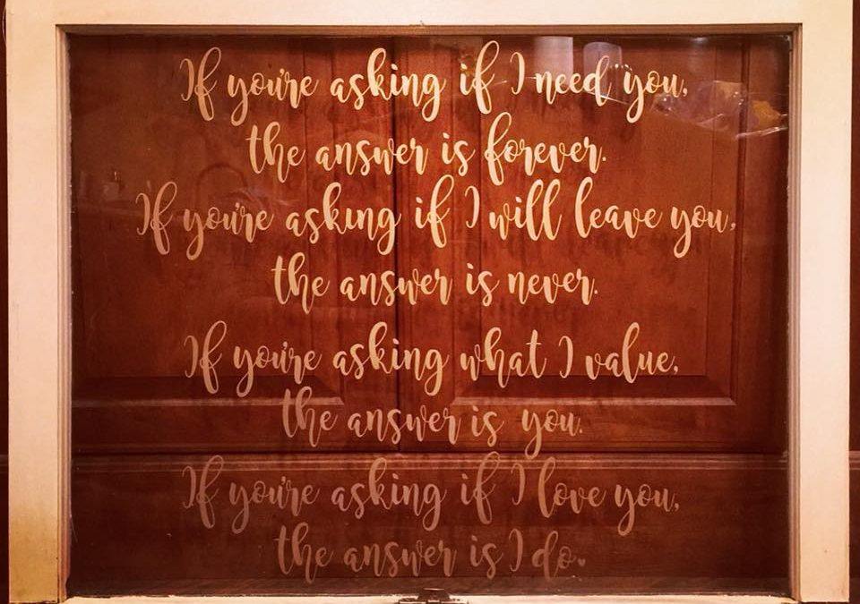 Romantic Poem Upcycled Window