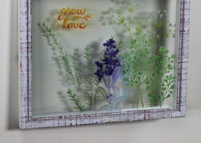 "Etch Layered Glass with Stencils: ""Grow Love"" Herb Garden"