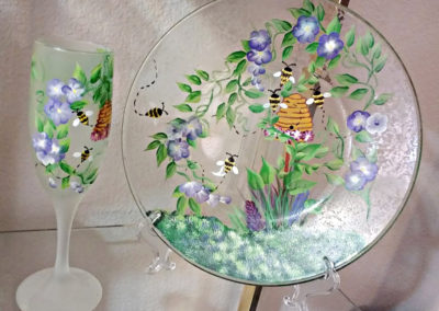 Texturized Spring Plate & Dipped Wine Glass