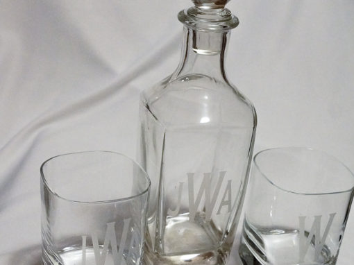 Monogrammed Decanter & Glasses